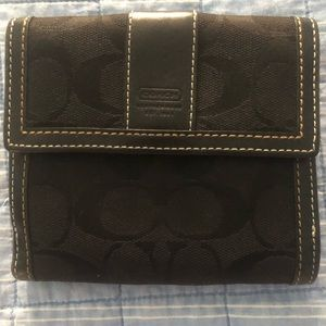 Coach small wallet signature collection black